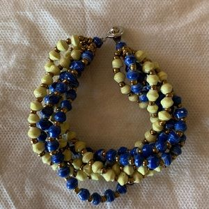 31 Bits Multi Strand Bracelet Bright Yellow & Blue